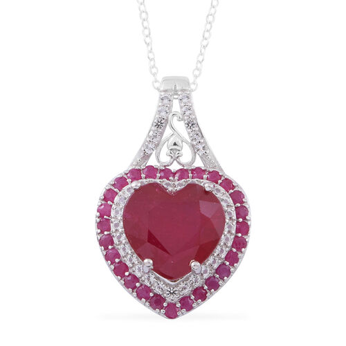 Red Carpet Collection- African Ruby (Hrt 10.50 Ct), Burmese Ruby and White Topaz Pendant with Chain in Rhodium Plated Sterling Silver 12.750 Ct.