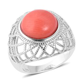 Living Coral (Rnd 14 mm) Ring in Rhodium Overlay Sterling Silver, Silver wt 7.79 Gms