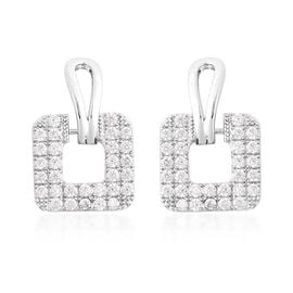Simulated Diamond Square Drop Earrings in Silver Tone