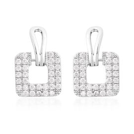 Simulated Diamond (Rnd) Square Earrings (with Push Back) in Silver Tone