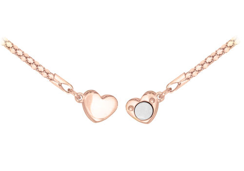 Rose Gold Plated Sterling Silver Magnetic Heart Popcorn Chain Bracelet (Size 7.5)