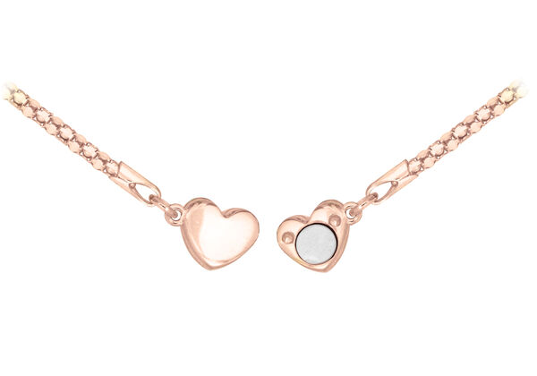 Rose Gold Plated Sterling Silver Magnetic Heart Popcorn Chain Bracelet (Size 7.5) with Magnetic Lock