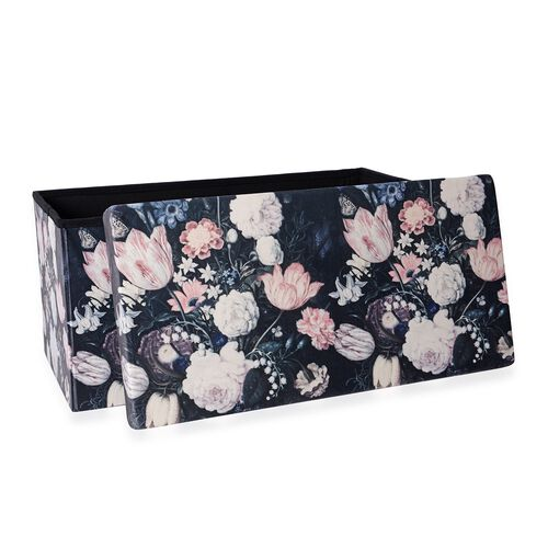 Luxury Edition - The Garden of Eden Printed Velvet Foldable Storage Ottoman (Size  76x38x38 Cm)