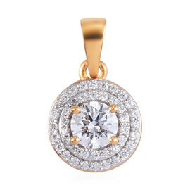 J Francis 14K Gold Overlay Sterling Silver Pendant Made with SWAROVSKI ZIRCONIA 0.79 Ct.