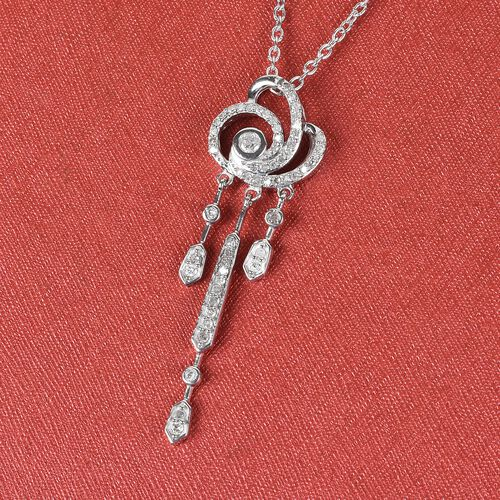 Diamond Drop Pendant with Chain (Size 18) in Platinum Overlay Sterling Silver 0.50 Ct.