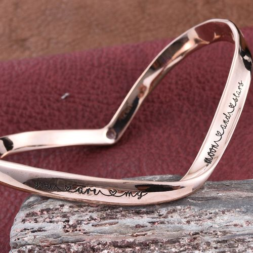 Kimberley A Wish From Me Collection Natural Cambodian Zircon (Rnd) Bangle (Size 7.5) in Rose Gold Overlay Sterling Silver, Silver Wt. 25.92 Gms.