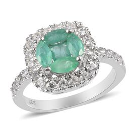 Premium Kagem Zambian Emerald and Natural Zircon Ring in Platinum Overlay Sterling Silver 1.20 Ct.