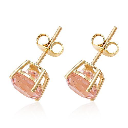 9K Yellow Gold AAA Marropino Morganite (Rnd) Stud Earrings (with Push Back) 4.750 Ct.