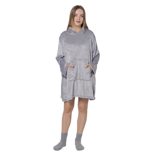 2 Piece Set - Hooded Robe with Pockets and Socks - Grey