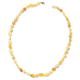 Tanzanian Yellow Opal  Beads Necklace (Size 18) in Rhodium Overlay Sterling Silver 78.50 Ct.