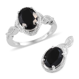 Boi Ploi Black Spinel (Ovl) Ring and Pendant in Sterling Silver 4.250 Ct.