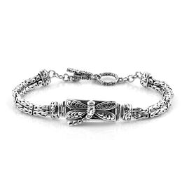 Royal Bali Collection Oxidised Sterling Silver Dragonfly Bracelet (Size 7.5), Silver wt 23.44 Gms.