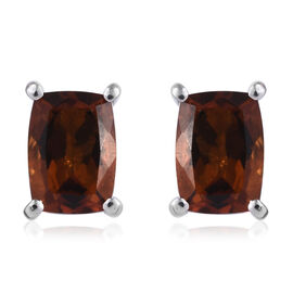 Madeira Citrine (Cush) Stud Earrings (with Push Back) in Platinum Overlay Sterling Silver 1.500 Ct.