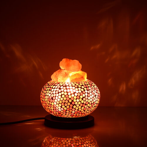 Handcrafted White and Pink Colour Polka Dots Mosaic Electric Lamp with NATURAL HIMALAYAN ROCK SALT