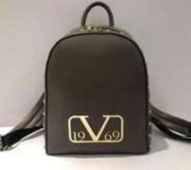 19V69 ITALIA by Alessandro Versace Backpack Bag with Zipper Closure (Size 25x30x12Cm) - Black