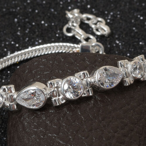 J Francis - Sterling Silver Bracelet (Size 7 with 1.5 Extender) made with SWAROVSKI ZIRCONIA 4.00 Ct