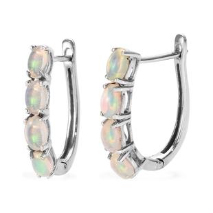 1.35 Ct Ethiopian Welo Opal Hoop Earrings in Platinum Plated Silver