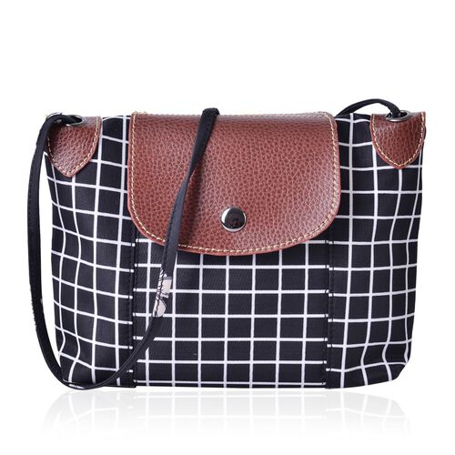 Waterproof Checks Pattern Crossbody Bag with External Zipper Pocket and Shoulder Strap (Size 25x20 Cm)