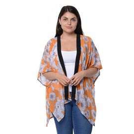 Orange and White Colour Floral Pattern Kimono (Size 85x71 Cm)