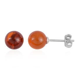 Baltic Amber (Rnd) Stud Earrings (with Push Back) in Rhodium Overlay Sterling Silver