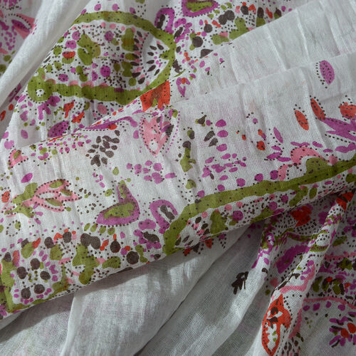 100% Cotton White, Pink and Multi Colour Scarf (Size 100x180 Cm)
