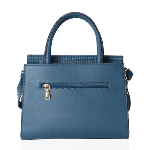 TW11 COLLECTION Vintage Teal Colour Tote Bag with External Zipper Pocket (Size 28.5x22x12 Cm)
