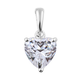 Made with Swarovski Zirconia 8mm Solitaire Heart Pendant in 9K White Gold