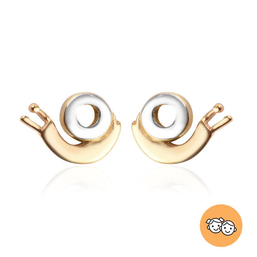 Children Snail Earrings in Platinum and Gold Plated Silver