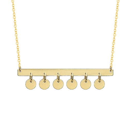 9K Yellow Gold Hanging Discs Necklace (Size 16 with 1 inch Extender)