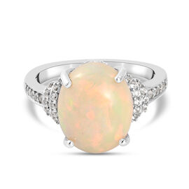 Extremely Rare Size Wegel Tena Opal (OV 3.158 Cts)  and Natural Zircon Ring in Platinum Overlay Ster