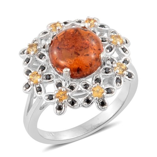Baltic Amber (Rnd 1.50 Ct), Boi Ploi Black Spinel and Citrine Flower Ring in Platinum Overlay Sterli