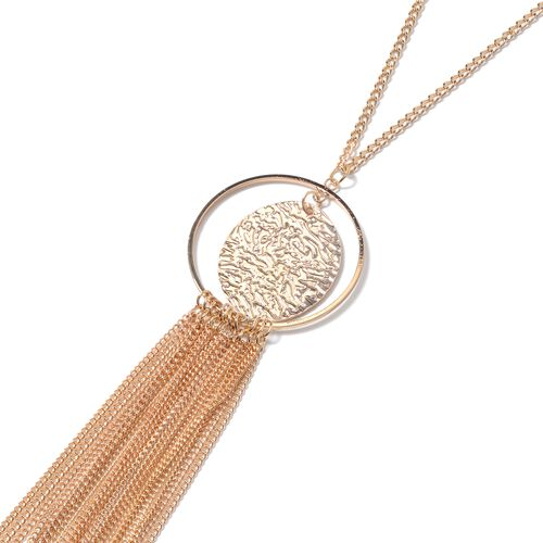 Designer Inspired- Long Dynamic Necklace (Size 18 with 2.50 inch Extender) with ChainTassels and Charm in Gold Plated