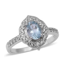 Santa Teresa Aquamarine and Natural Cambodian Zircon Ring in Rhodium Overlay Sterling Silver 1.24 Ct