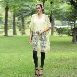 JOVIE Lace Kimono with Tassel (Size:90x75 cm)- Yellow