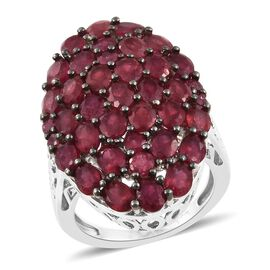 9 Carat African Ruby Cluster Ring (Size P) in Platinum and Black Plated Sterling Silver 6.70 Grams