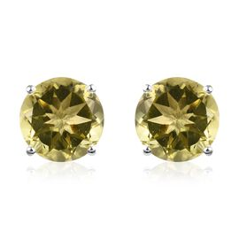 8.50 Ct Natural Ouro Verde Quartz Solitaire Stud Earrings in Sterling Silver