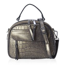 100% Genuine Leather Stone Pattern Tote Bag with Detachable Shoulder Strap (Size 24x11x18 Cm) - Gree