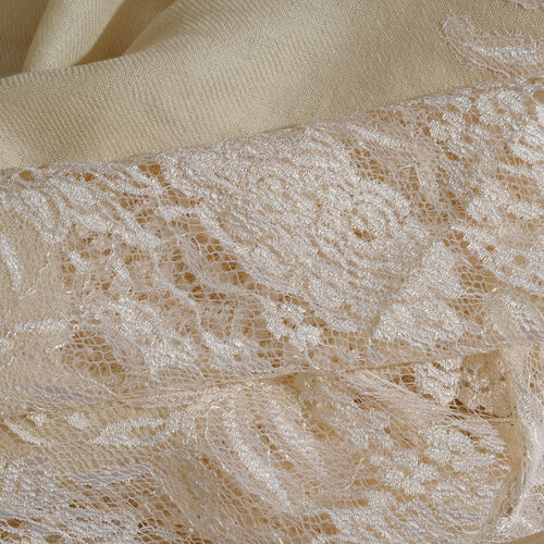Designer Inspired One Time Offer - Cashmere Wool and Mulberry Silk Shawl With Lace Work and Fringes - Cream (Size 200X70 Cm)
