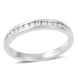 ILIANA 18K White Gold IGI Certified Diamond (Rnd) (SI/G-H) Half Eternity Band Ring 0.250 Ct.