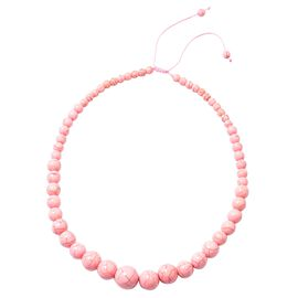 HONG KONG COLLECTION- Pink Howlite Graduated Adjustable Necklace (Size 18 -24)  285.500  Ct.
