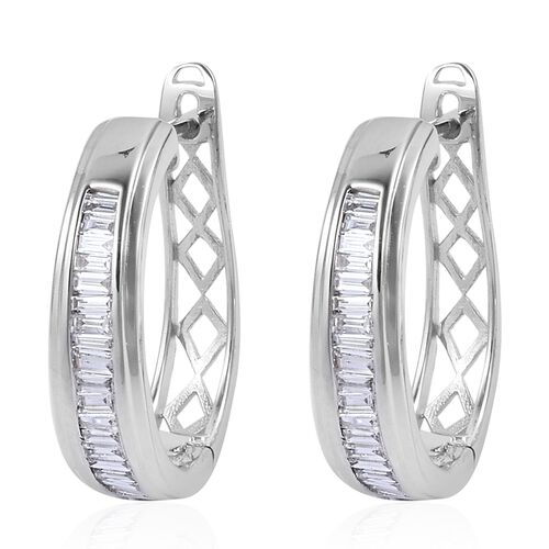 ILIANA 18K White Gold IGI Certified Diamond (Bgt) (SI/G-H) Hoop Earrings (with Clasp) 0.500 Ct.Gold Wt 4.80 Gms