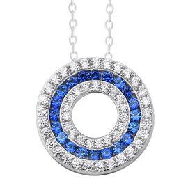 ELANZA Simulated Tanzanite (Rnd), Simulated Diamond Three Row Circle Pendant With Chain (Size 18) in