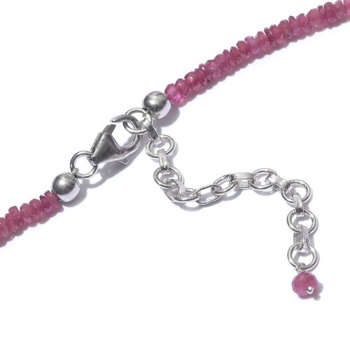 African Ruby (Rnd) Beads Necklace (Size 18 with 2 inch Extender) in Sterling Silver 63.450 Ct.