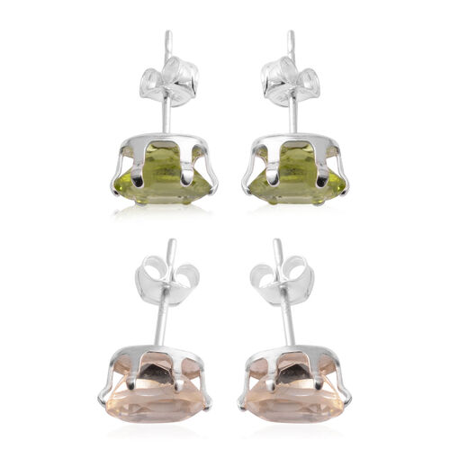 Set of 2 - Citrine (Ovl), Hebei Peridot Stud Earrings (with Push Back) in Sterling Silver 4.000 Ct.