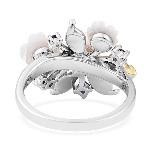 Jardin Collection - White Mother of Pearl, Freshwater Pearl, Citrine and Amethyst Enameled Ring in Rhodium and Gold Overlay Sterling Silver, Silver wt 5.58 Gms.