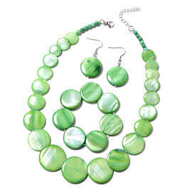 3 Piece Set Green Shell Necklace 18 with 2 inch Extender Stretchable Bracelet 7 Inch and Hook Earrin