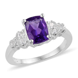 Amethyst (Cush), White Topaz Ring in Sterling Silver 1.500 Ct.