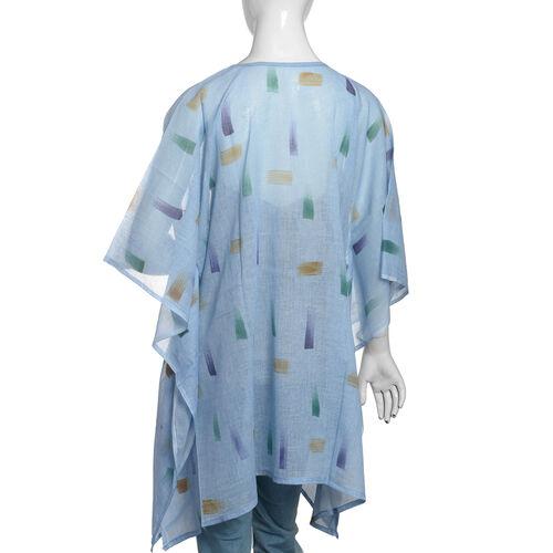 One Time Mega Deal-100% Cotton Blue and Multi Colour Kaftan (Size 85x70 Cm)