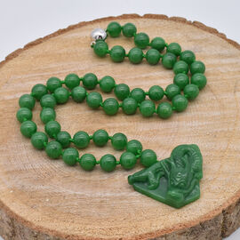 Green Jade Dragon Necklace (Size 24) in Rhodium Overlay Sterling Silver 731.00 Ct.