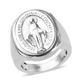 GP Blue Sapphire Miraculous Medal Ring in Platinum Plated Sterling Silver